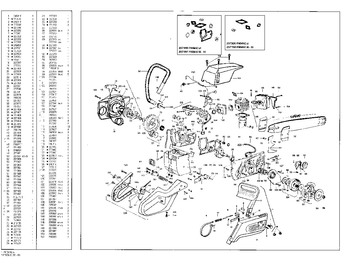 McCulloch Promac 51 55 60 Chainsaw Service Parts List