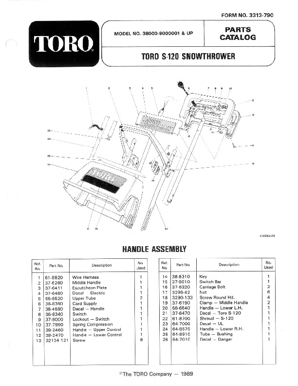 Toro 38000 S-120 Snowblower Manual, 1989-1991