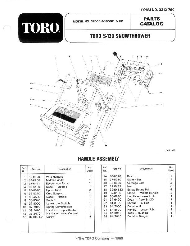 Toro 38000 S-120 Snowblower Manual, 1989-1991