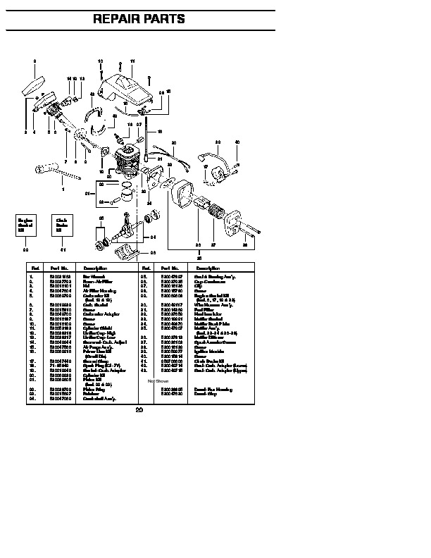 Craftsman 358.351162 Chainsaw Parts List, 1996