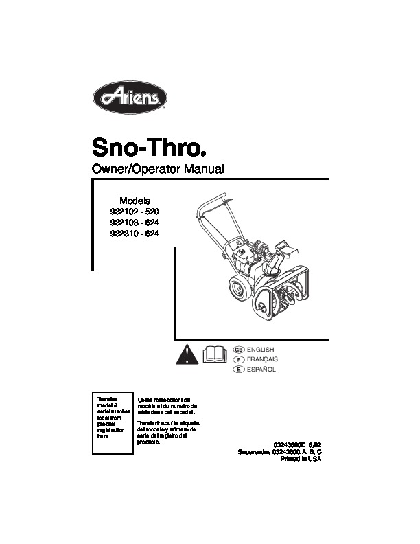 Ariens Sno Thro 932102 932103 932310 Snow Blower Owners Manual