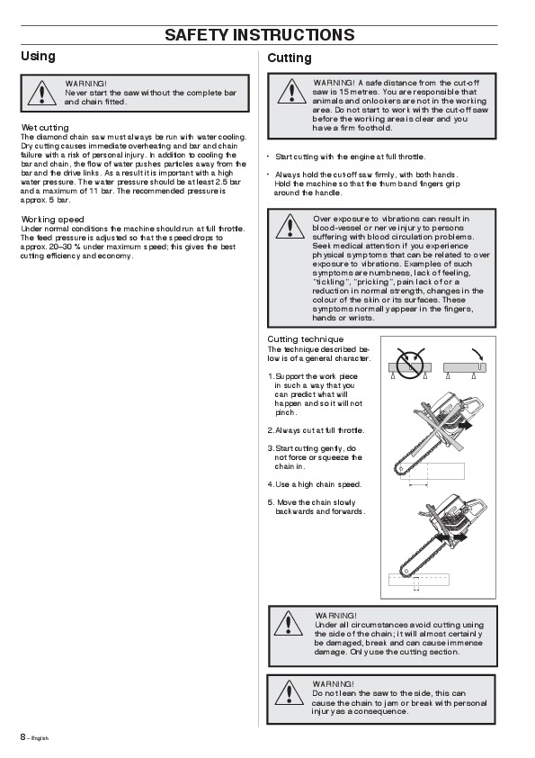 Husqvarna K950 Chain Chainsaw Owners Manual, 2007