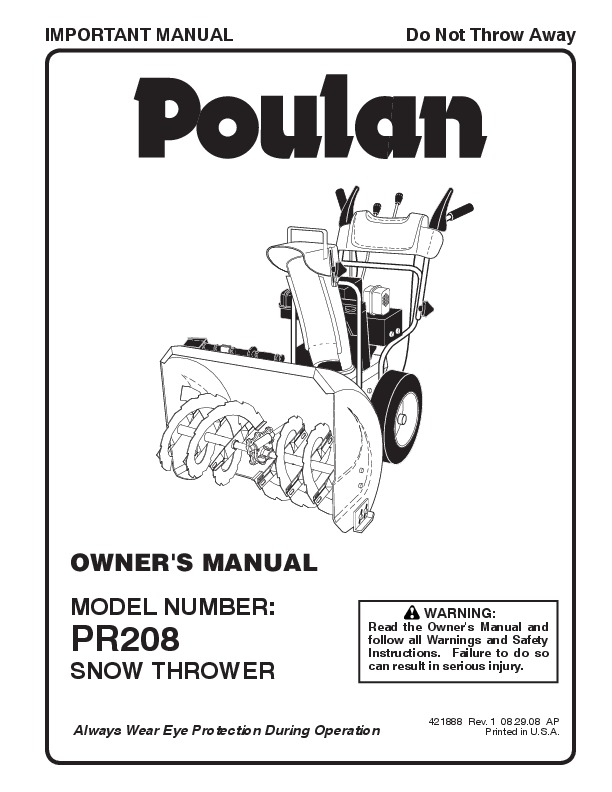 Poulan Pro PR208 421888 Snow Blower Owners Manual, 2008