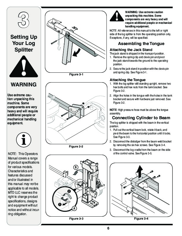 MTD 510 570 Log Splitter Lawn Mower Owners Manual