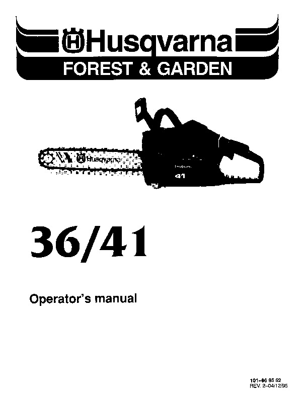 Husqvarna 36 41 Chainsaw Owners Manual, 1995,1996,1997