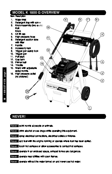 Kärcher K 1800 G Gasoline Power High Pressure Washer