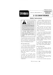 Toro 38000C S-120 Snowblower Manual, 1989