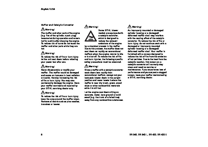 STIHL BR 340 420 Blower Vacuum Owners Manual