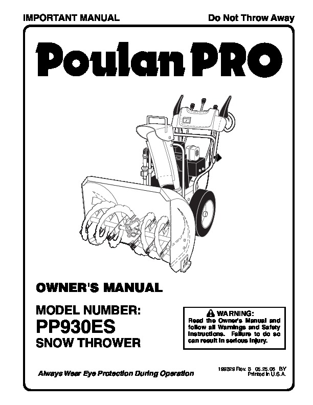 Poulan Pro PP930ES 199329 Snow Blower Owners Manual, 2006