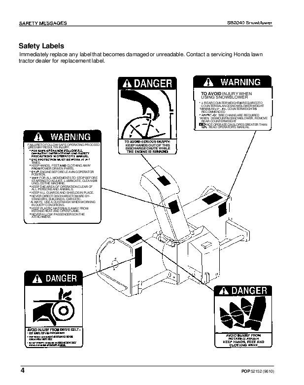 Honda SB2040 Snow Blower Owners Manual