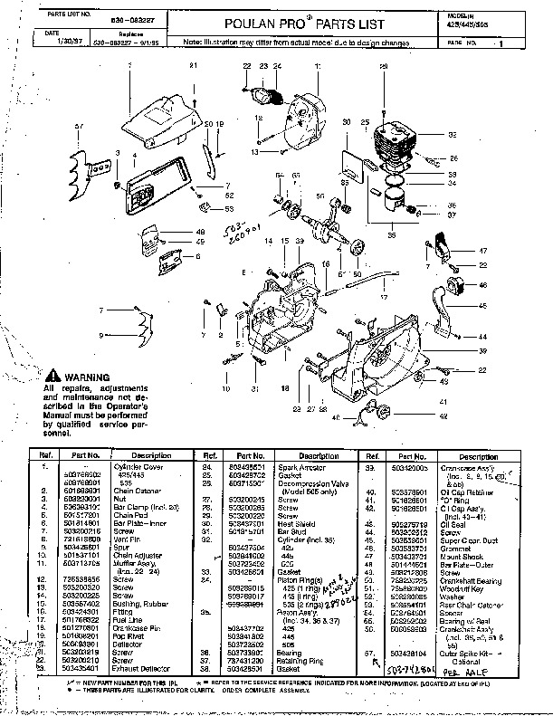 Poulan Pro 425 445 505 Chainsaw Parts List, 1997