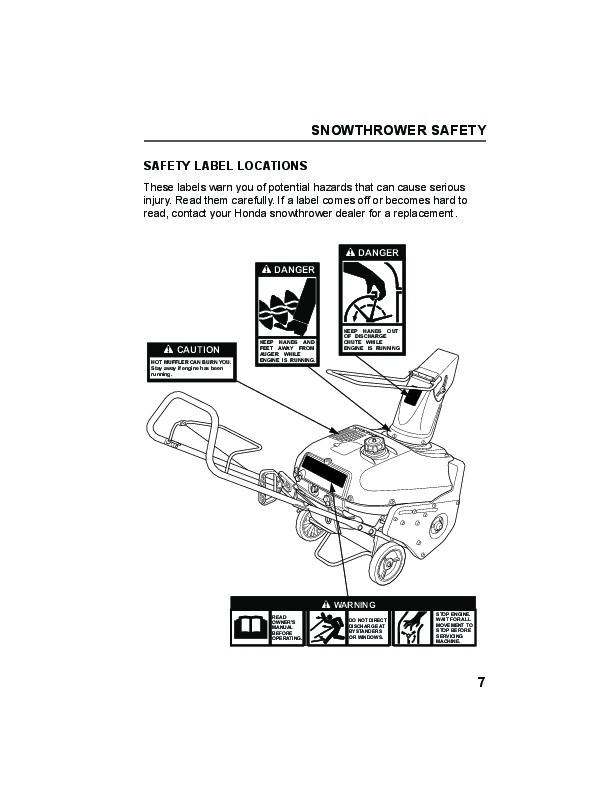 Honda HS520A HS520AS Snow Blower Owners Manual