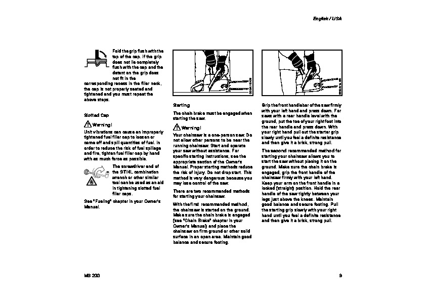 STIHL MS 200 Chainsaw Owners Manual