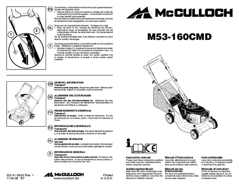 McCulloch M53 160CMD Lawn Mower Owners Manual, 2009