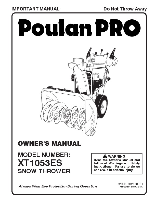 Poulan Pro XT1053ES 422085 Snow Blower Owners Manual, 2008