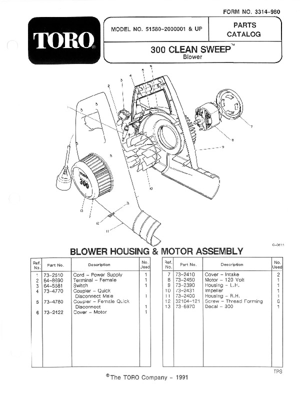 Toro 51580 300 Clean Sweep Manual, 1992