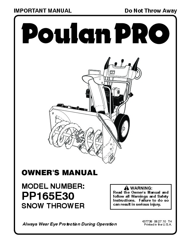 Poulan Pro PP165E30 437738 Snow Blower Owners Manual, 2010