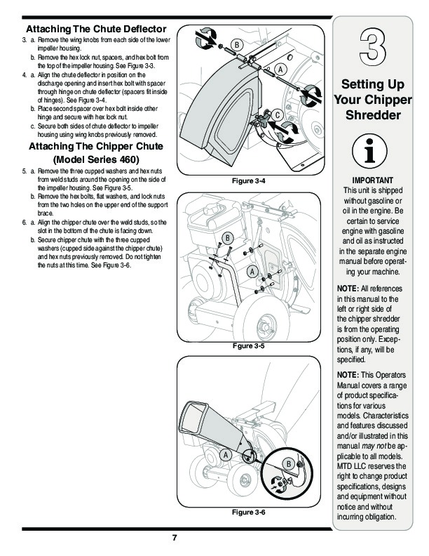 MTD 450 460 Series Vacuum Chipper Shredder Owners Manual