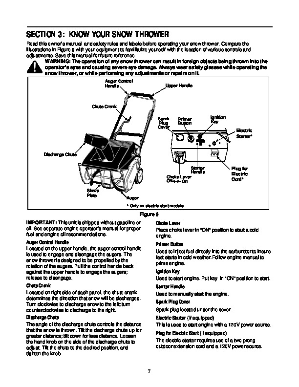 MTD White Outdoor SB45 SB55 Snow Blower Owners Manual