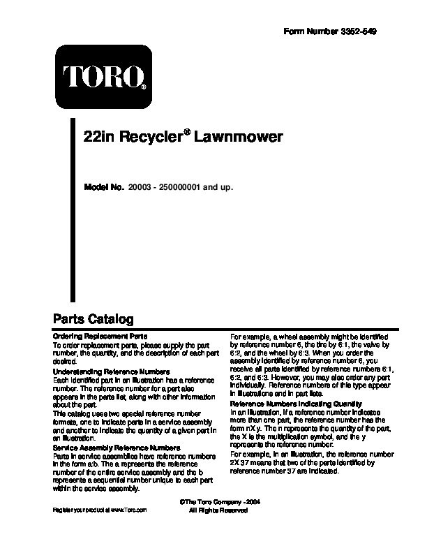 Toro 20003 22-Inch Recycler Lawn Mower Owners Manual, 2005