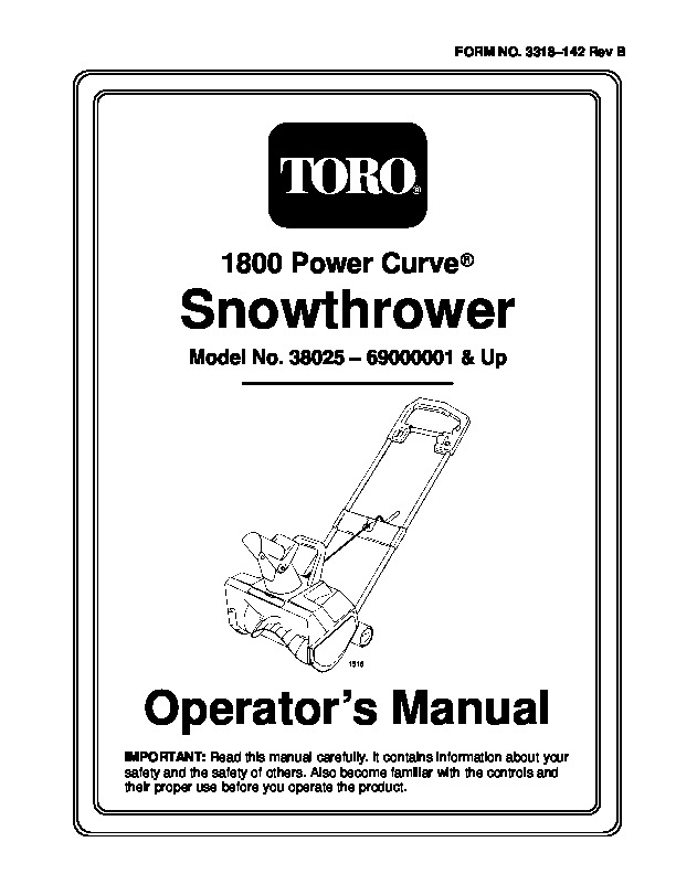 Toro 38025 1800 Power Curve Snowblower Manual, 1997-1999