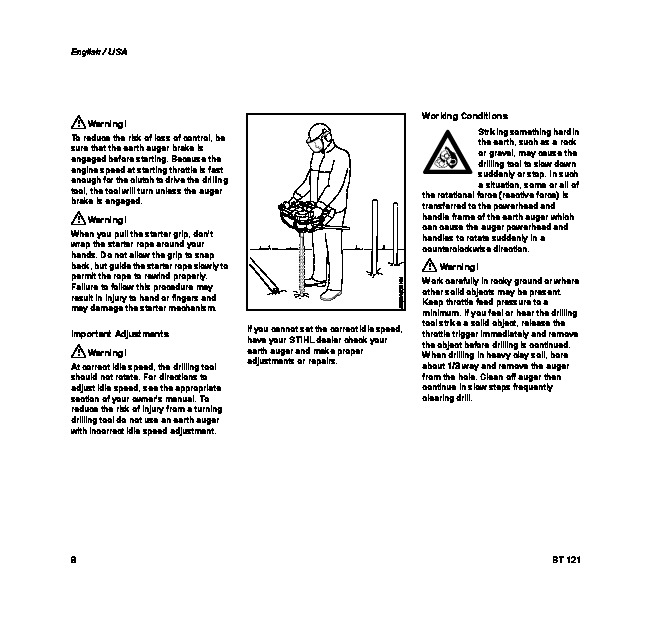 STIHL BT 121 Auger Owners Manual