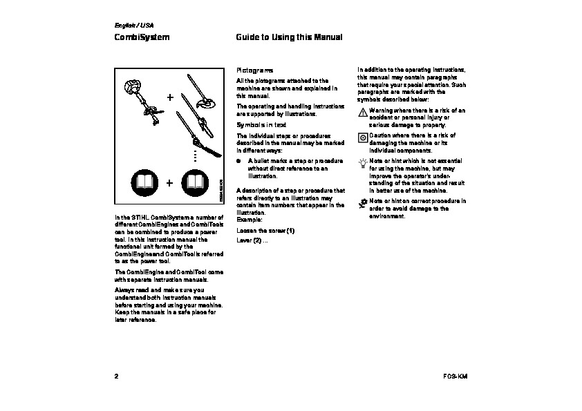 STIHL FCS KM Straight Edger Owners Manual