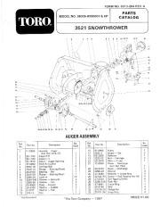 Toro 38035 3521 Snowblower Manual, 1988
