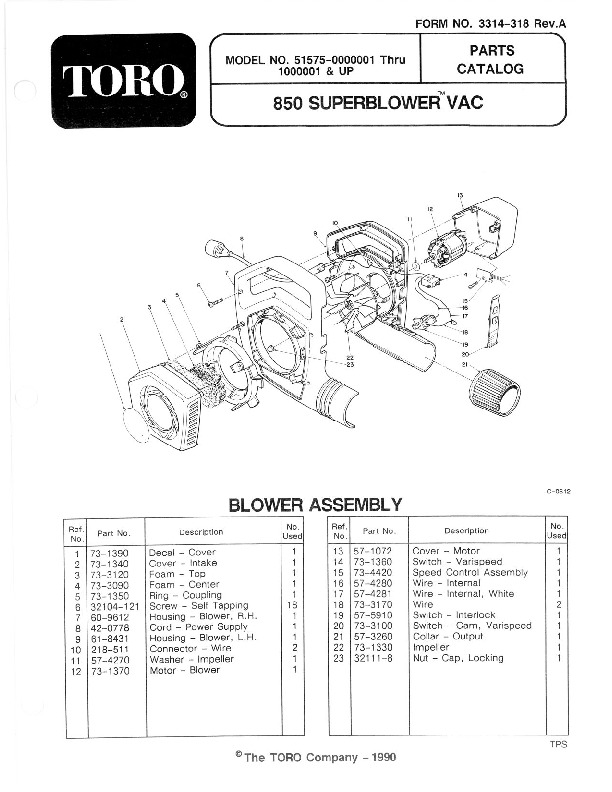 Toro 51575 850 Super Blower Manual, 1991