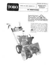 Toro 38010 421 Snowblower Manual, 1980