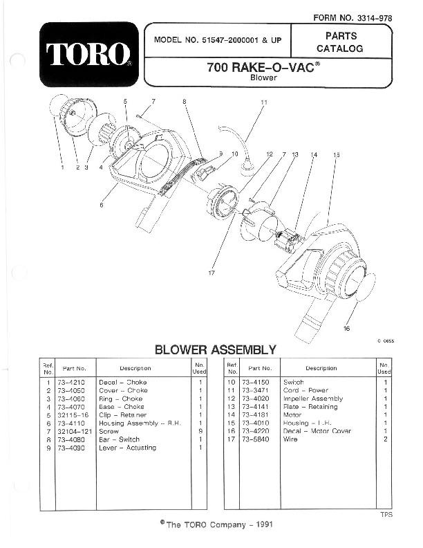 Toro 51547 700 Rake-O-Vac Manual, 1993