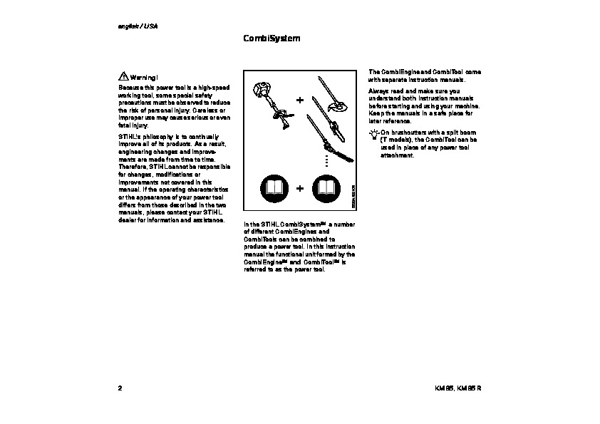 STIHL KM 85 Blower Kombi System Owners Manual