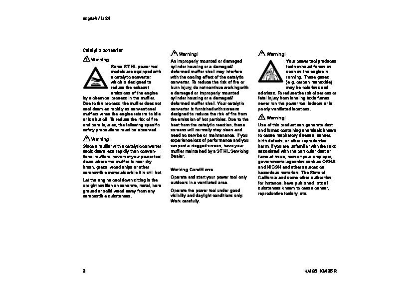 STIHL KM 85 Blower Kombi System Owners Manual