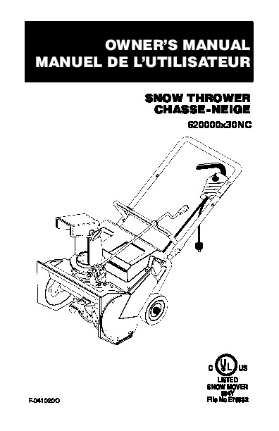 Murray 620000X30N Snow Blower Owners Manual
