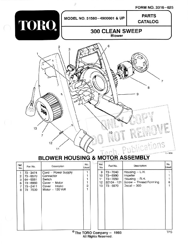 Toro 51580 300 Clean Sweep Manual, 1995