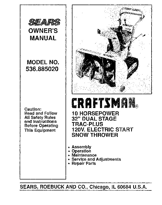 Craftsman 536.885020 32-Inch Snow Blower Owners Manual