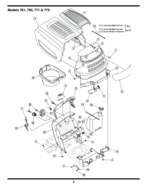 MTD 760 779 Transmatic Lawn Tractor Mower Parts List