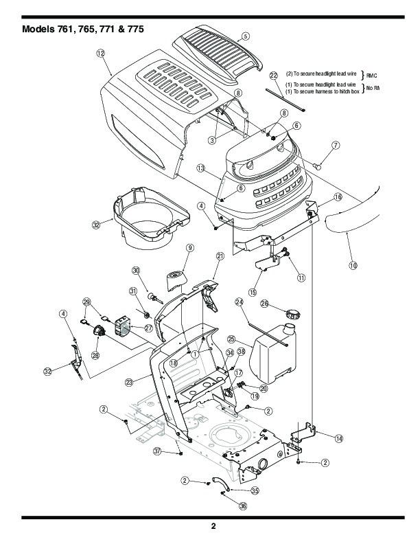 MTD 760 779 Transmatic Lawn Tractor Mower Parts List