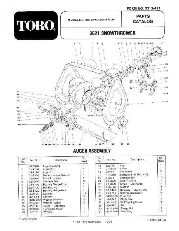 Toro 38035 3521 Snowblower Manual, 1985