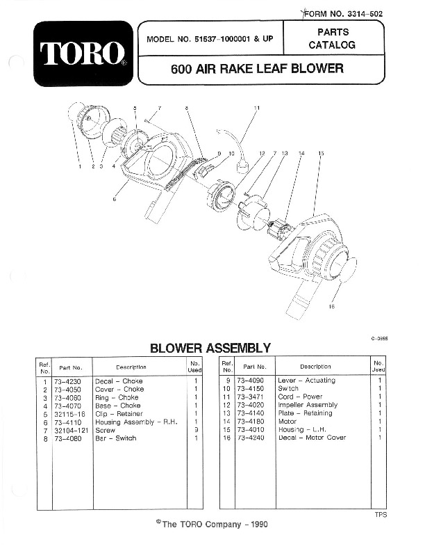 Toro 51537 600 TX Air Rake Manual, 1991
