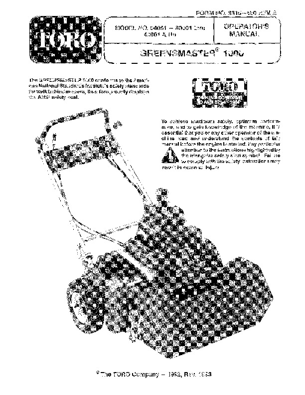 Toro 04051 Greensmaster 1000 Lawn Mower Owners Manual, 1995