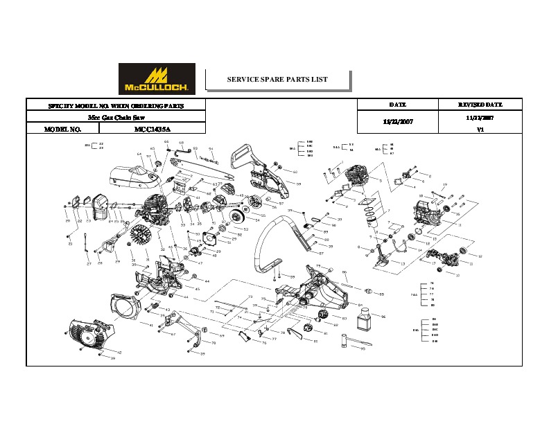 McCulloch IPL MCC1435A 35cc Chainsaw Service Parts List