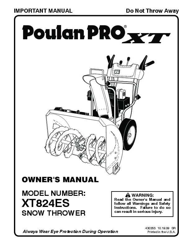 Poulan Pro XT824ES 430355 Snow Blower Owners Manual, 2009