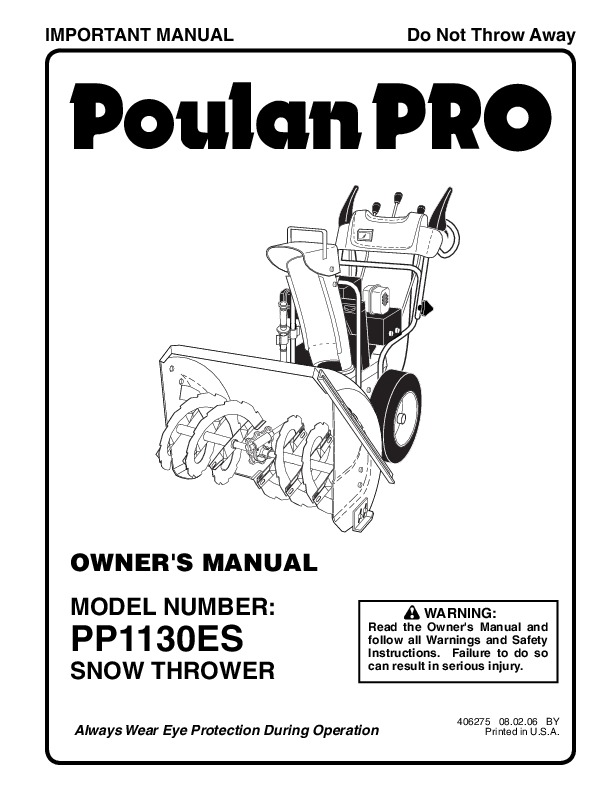 Poulan Pro PP1130ES 406275 Snow Blower Owners Manual, 2006