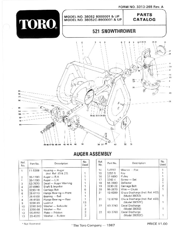 Toro 38052 521 Snowblower Manual, 1988