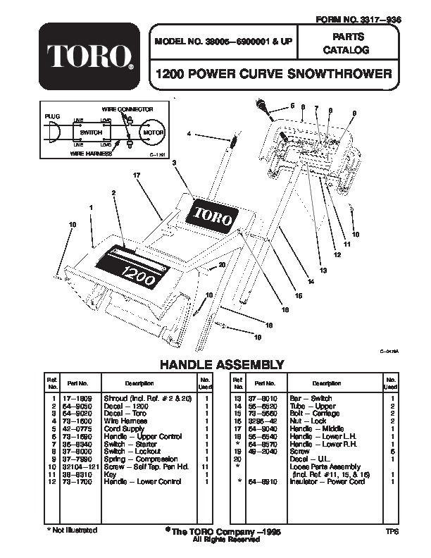 Toro 38005 1200 Power Curve Snowblower Manual, 1996