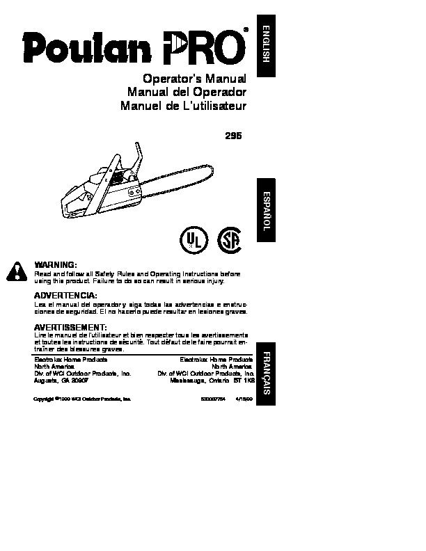 Poulan Pro 295 Chainsaw Owners Manual, 1999