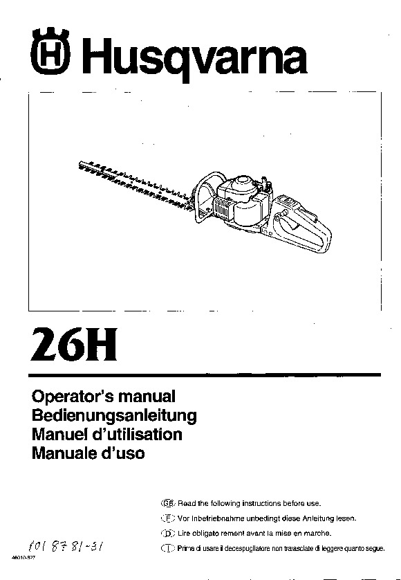 Husqvarna 26H Chainsaw Owners Manual, 1997