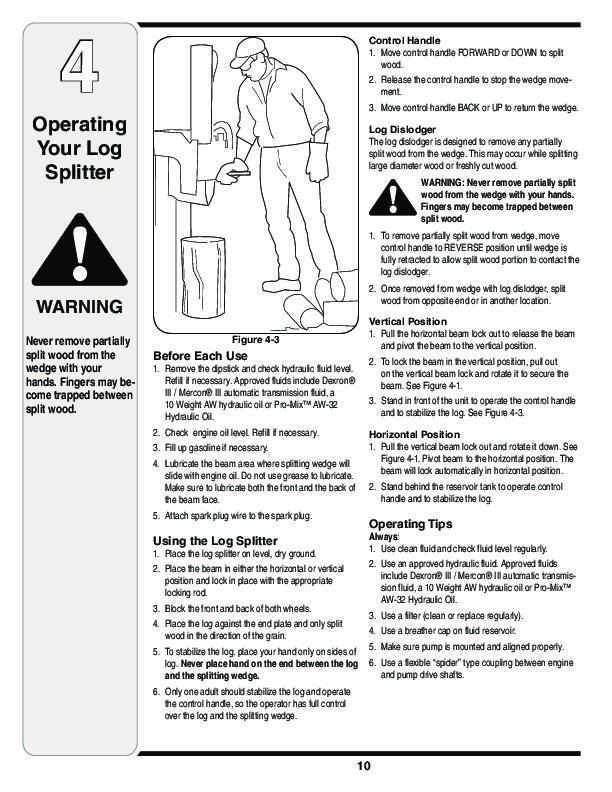MTD Troy-Bilt LS 27 TB Log Splitter Lawn Mower Owners Manual