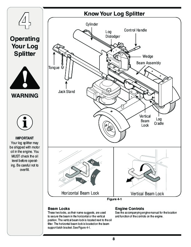 MTD Troy-Bilt LS 27 TB Log Splitter Lawn Mower Owners Manual